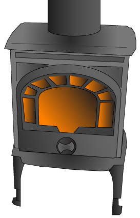 Graphic of a catalytic stove with a fire going.