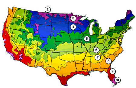 Graphic map of the 10 temperature zones in the USA.